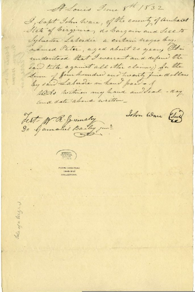 Document transferring Peter from John Ware to Sylvester Labadie, 1832