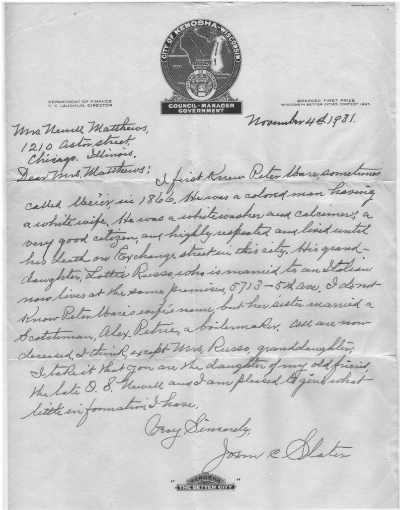 Letter from Municipal Judge John Slater regarding Peter