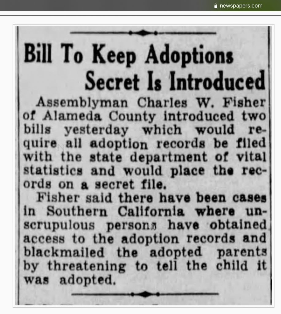 Newspaper clipping, The Sacramento Bee, 22 January 1935.  Bill to Keep Adoptions Secret is Introduced.
