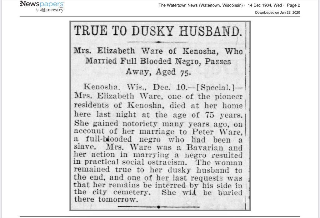 Elizabeth's obituary