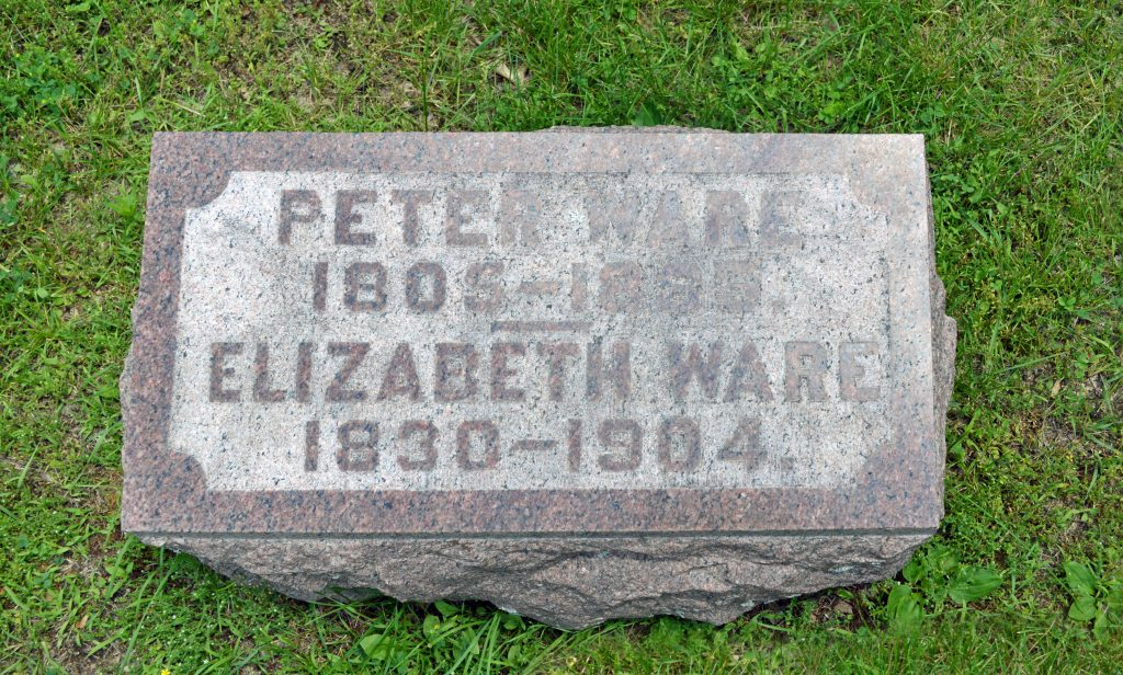Peter and Elizabeth's grave stone.