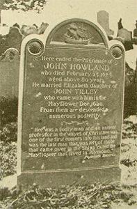 Grave marker of Mayflower passenger John Howland.
