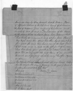 Portion of Peter's manumission document, 1853